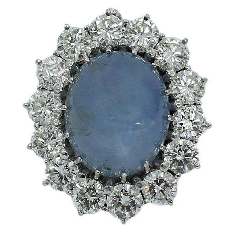 Blue Star Sapphire and Diamond White Gold Pendant Enhancer