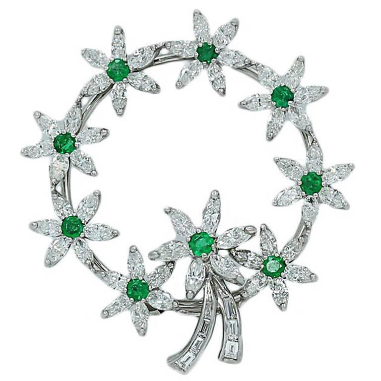 Emerald and Diamond Circle Platinum Brooch