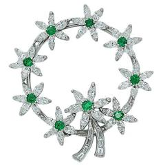 Emerald and Diamond Circle Platinum Brooch
