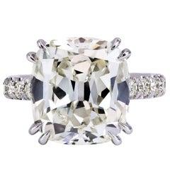 Important 14.25 Carat Cushion Cut Diamond Engagement Ring