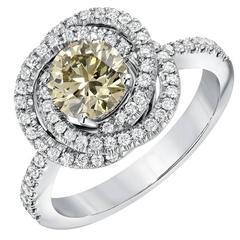 1.03 Carat GIA Certified Champagne Diamond White Gold Ring