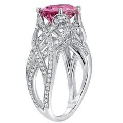 Fine 3.18 Carat Pink Spinel Diamond White Gold Ring