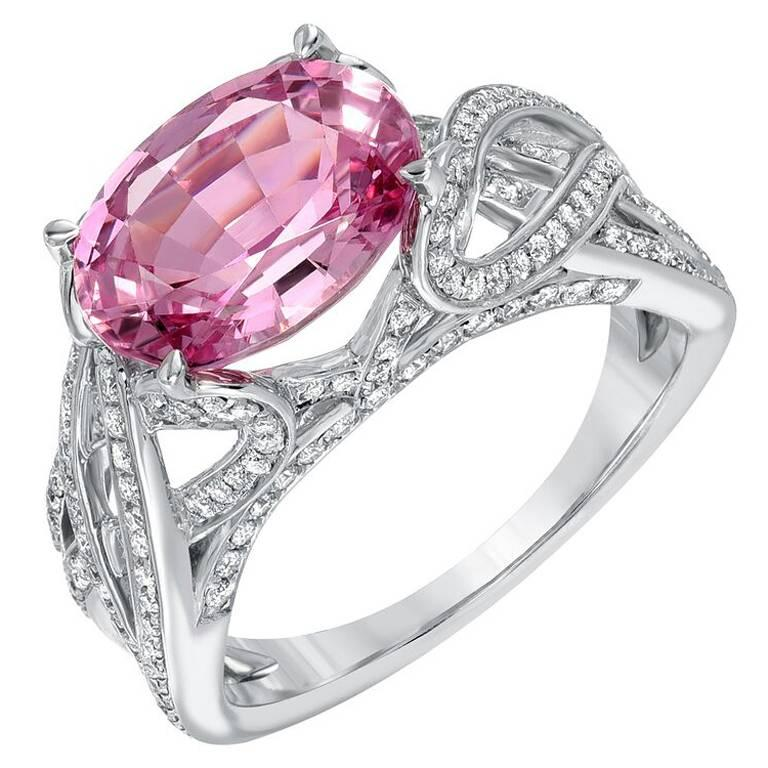 Pink Spinel Ring Diamond White Gold Ring 3.18 Carat Oval  For Sale