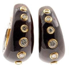 Pair of Diamond, Enamel and Gold Earrings by Christian Dior