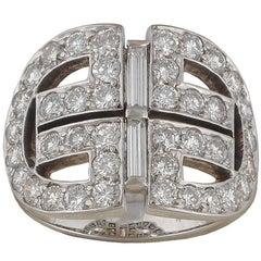 Diamond White Gold Geometric Ring