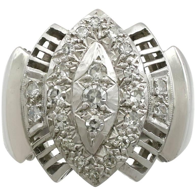 1950s Diamond White Gold Cocktail Ring