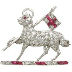 1950s Diamond and Ruby Platinum Regimental Brooch