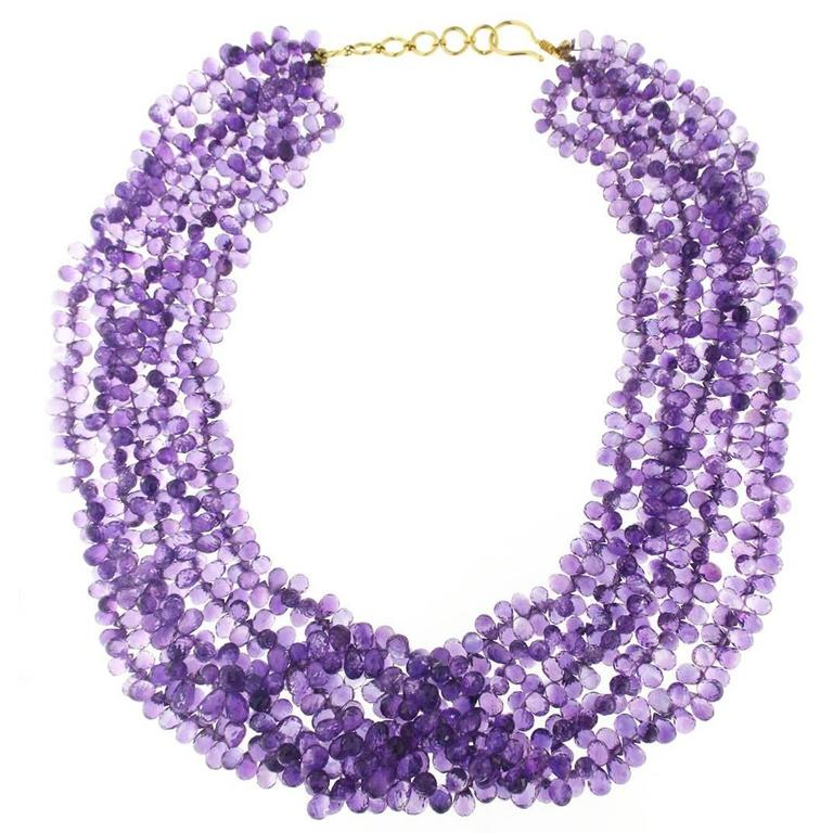Jona Amethyst Two Strand Faceted Briolette Necklace