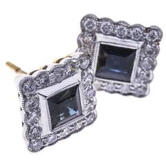 18 Carat Gold Sapphire and Diamond Square Halo Stud Earrings