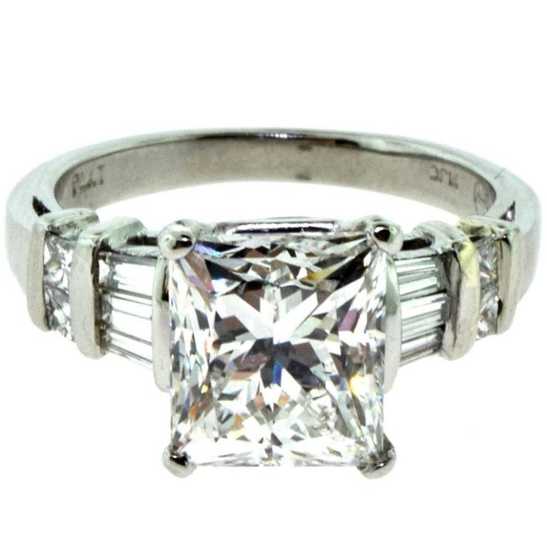princess cut 301 carat diamond engagement platinum ring