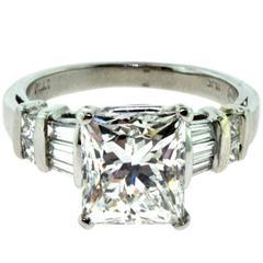 Princess Cut 3.01 Carat Diamond Engagement Platinum Ring, GIA Certified