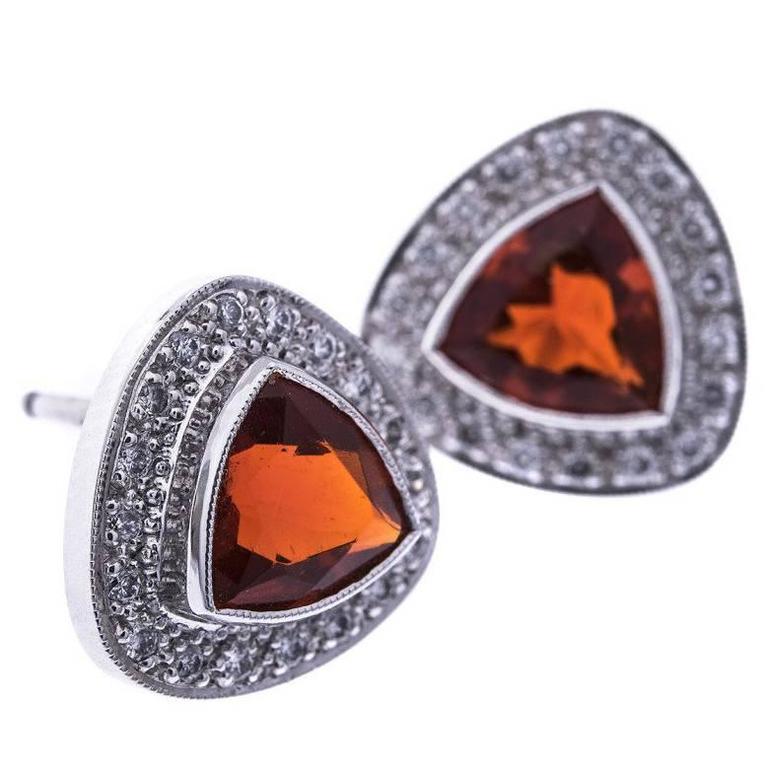Fire Opal Diamond White Gold Triangular Halo Stud Earrings