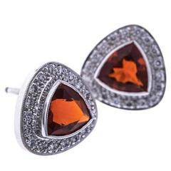 Fire Opal Diamond White Gold Triangular Halo Stud Earrings