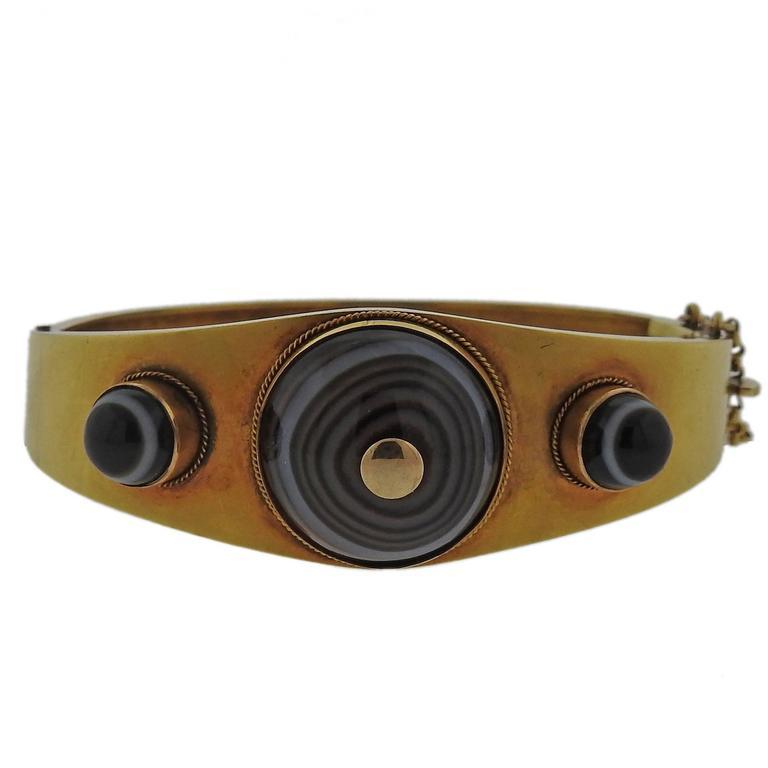 Antique Victorian Gold Banded Agate Bangle Bracelet