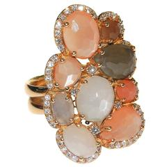 Moonstone Diamond Rose Gold Ring