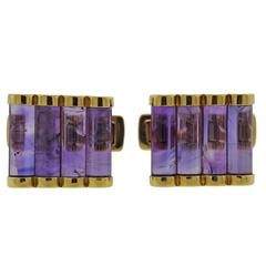 1980s Amethyst Gold Cufflinks