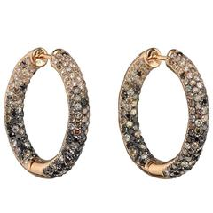 Pavé Multicolored Diamond Pink Gold Hoop Earrings
