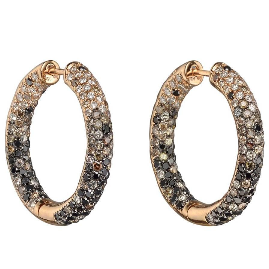 three carat toned in diamond gold earrings diamonds multi colored fancy