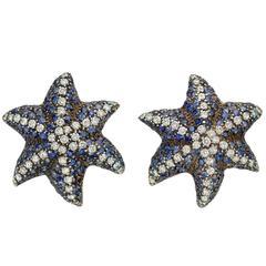 Ronald Abram Sapphire Diamond White Gold Starfish Earclips