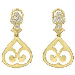 Elizabeth Rand Diamond Brushed Yellow Gold Drop Earrings