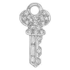 Tiffany & Co. Diamond Platinum Key Charm
