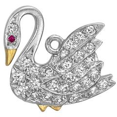 Tiffany & Co. Diamond Platinum Swan Charm