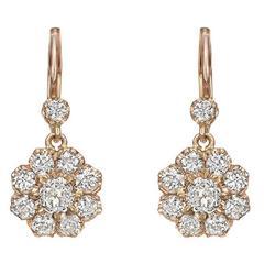 Diamond Pink Gold Cluster Drop Earrings