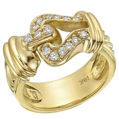 David Yurman Diamond Yellow Gold Open Buckle Ring