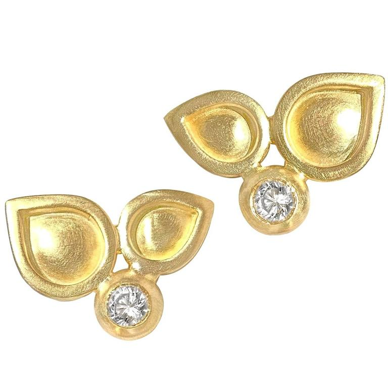 Monica Marcella White Diamond Handmade Matte Gold Stud Earrings
