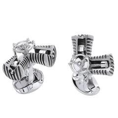Deakin & Francis Silver and Rose Gold Piston Engine Cufflinks