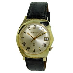 Bulova Yellow Gold Accutron New Condition First Functioning Battery Watch