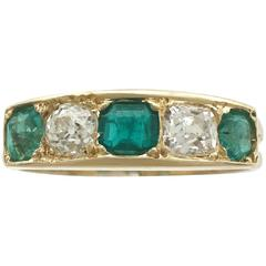 1920s Antique Emerald and Diamond Yellow Gold Ring