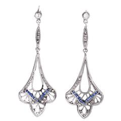 Art Deco Blue Sapphire Diamond Platinum Chandelier Earrings