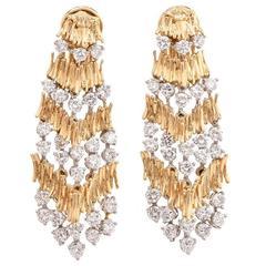1970s Chic Diamond Gold Chandelier Earrings