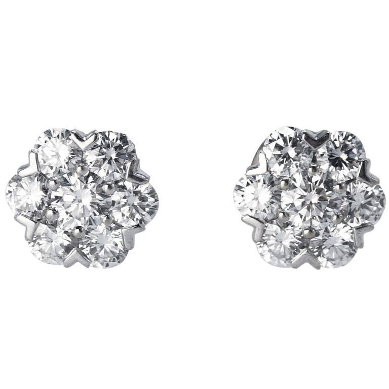 Van Cleef & Arpels Diamond White Gold Fleurette Earrings