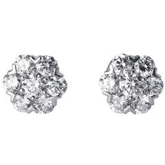 Van Cleef & Arpels Diamond White Gold Fleurette Earrings