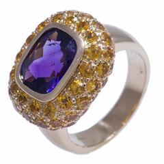 Amethyst and Yellow Sapphire Ring