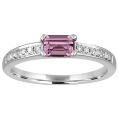 Stackable 0.37 Carat Amethyst Baguette and Diamond Gold Ring