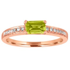 Stackable 0.44 Carat Peridot Baguette and Diamond Gold Ring