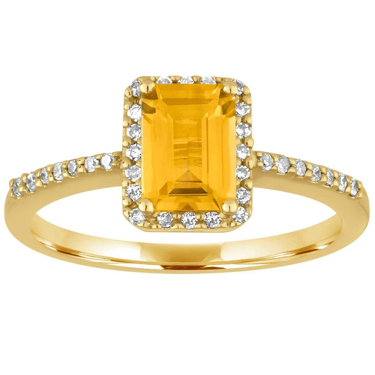 0.81 Carat Step Cut Citrine and Diamond Gold Ring For Sale