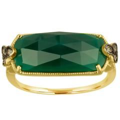 Green Agate 5.35 Carats Faceted Cabochon and Diamond Gold Ring