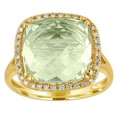 Cushion Cut 6.44 Carats Green Amethyst and Diamond Halo Gold Ring