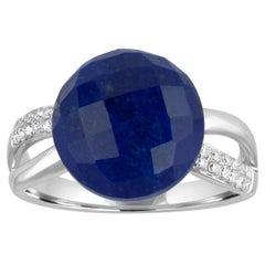7.37 Carat Cabochon Lapis Lazuli Diamond Gold Ring