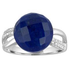 Lapis Lazuli Round 7.37 Carat Cabochon and Diamond Gold Ring