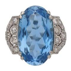 Art Deco Aquamarine Diamond Cluster Ring, circa 1935