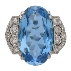 Art Deco Aquamarine Diamond Cluster Ring, circa 1935