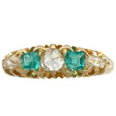 1890s Antique Victorian Diamond and Emerald Yellow Gold Ring