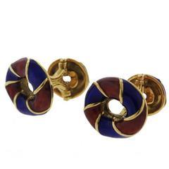 Gold Red Blue Enamel Cufflinks