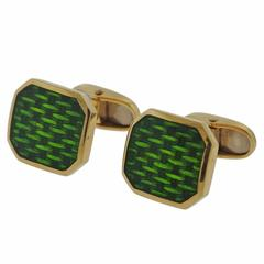 Gold Green Enamel Cufflinks