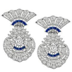 Amazing Art Deco 5 Carat Diamond Sapphire Earrings